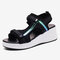 Women Mesh Stitching Breathable Casual Wedges Sports Sandals - Black