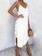 ソリッドカラーのセクシーなVネックのドレスビーチドレス - 白い