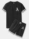 メンズゴシックポーカープリントストライプトリムラグランスリーブツーピース衣装 - 黒