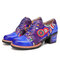 SOCOFY Floral Embroidery Genuine Leather Round Toe Comfy Wearable Lace-up Casual Heels Shoes - Blue
