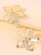 Brief Country Style Three-dimensional Flowers-shape Rhinestone Alloy Earrings - Gold