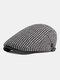 Men Peaked Cap Autumn Winter British Retro Beret Casual Forward Cap Flat Cap - White