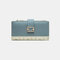 Women Genuine Leather 12 Card Slots Patchwork Floral Photo Card Money Clip Coin Purse Multifunctional Wallet - Blue