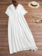 Casual Solid Color V-neck Short Sleeve Plus Size Maxi Dress - White