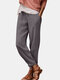 Solid Color Drawstring Casual Cotton Pants For Women - Gray