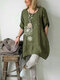 Flower Print Casual Plus Size Blouse for Women - Green