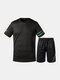 Men Breathable Workout Tracksuit with Short Sleeve Top and Knee Length Short Loungewear - Black