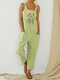 Flower Embroidered Straps Casual Jumpsuit For Women - Light Green