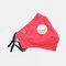Protective Mask Anti-haze Dust Belt Valve Breathable Cotton Face Mask - Red