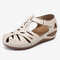 LOSTISY Women Hollow Comfy Wearable Beach Casual Wedges Sandals - Off White