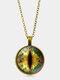 Vintage Gemstone Glass Printed Women Necklaces Cat Eye Pendant Sweater Chain - Bronze