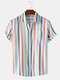 Mens Colorful Striped Button Up Short Sleeve Shirt With Pocket - White