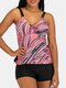 Plus Size Women Colorful Stripe Print Tie Front Wireless Strappy Tankinis Swimsuit - Pink