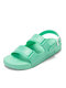 Women Candy Colors Soft Comfy Buckle Sports Beach Sandals - Green