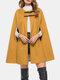 女性のための無地の革ボタンカジュアルケープコート - 黄