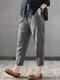 Vintage Striped Pockets Cotton Harem Pants - Black