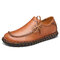 Men Cow Leather Non Slip Hand Stitching Soft Sole Casual Shoes - Brown