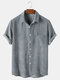 Mens Corduroy Solid Color Breathable Casual Short Sleeve Shirts - Grey