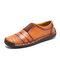 Menico Men Hand Stitching Leather Non Slip Splicing Casual Driving Shoes - Brown