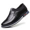 Men Leather Non Slip Soft Sole Slip On Business Casual Shoes - Black