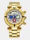 Multifunctional Men Business Watch Luminous Chronograph Calendar Quartz Watch - White Dial Gold Band