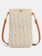 Casual Straw Simple Design Multifunction 6.8 Inch Phone Bag Crossbody Bag - Beige(Magnetic Button)
