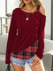 Women Plaid Patchwork Off shoulder Long Sleeve Casual T-Shirt - Red