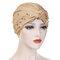 Womens Vintage Tie Bead Beanie Cap Casual Milk Silk Soft Solid Bonnet Hat Headpiece - Khaki