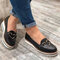 Large Size Women Casual Round Toe Stitching Non Slip Wedges Loafers - Black