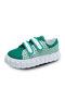 Women Hook & Loop Chiba Bird Pattern Casual Cavans Shoes - Green