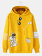 Mens Cartoon Cat Pattern Print Daily Relaxed Fit Drawstring Pullover Hoodies - Yellow