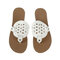 Women Comfy Daily Hollow Flip Flop Flat Slippers - White