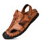 Men Outdoor Hand Stitching Closed Toe Soft Non Slip Casual Leather Sandals - Brown