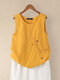 Button Embroidery O-neck Sleeveless Patchwork Vintage Tank Top - Yellow