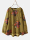 Calico Print O-neck Long Sleeve Casual Blouse For Women - Yellow