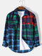 Mens Contrast Plaid Cotton Casual Long Sleeve Shirts With Flap Pockets - Blue