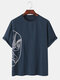 Mens Chinese Style Opera Face Print Linen Loose Short Sleeve T-Shirts - Navy