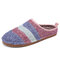 SOCOFY Colorblock Striped Household Cotton Slip On Indoor Flat Home Shoes Slippers - Pink