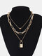 Vintage Alloy Exaggerated Thick Chain Multi-layer Geometric Lock-shaped Love Necklace - #04