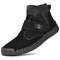 Men Synthetic Suede Splicing Hand Stitching Non Slip Casual Ankle Boots - Black