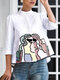 Women Embroidered Button Stand Collar 3/4 Length Sleeves Casual Blouse - White