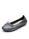 Women Leather Round Toe Breathable Hollow Bow Decoration Slip On Flat Loafers Shoes - Silver & Gray