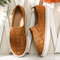 LOSTISY Breathable Hollow Suede Elastic Slip On Flat Loafers - Brown