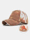 Unisex Washed Distressed Cotton Tie-dye Broken Hole Fashion Sunshade Baseball Caps - Rust Red