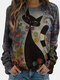 Cat Calico Printed Long Sleeve O-neck T-shirt For Women - Gray