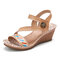 SOCOFY Handmade Leather Ankle Strap Stitching Mid Heel Wedge Sandals - Beige