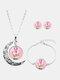 3 Pcs Printed Men Women Jewelry Set Wearing Garland Hollow Half Moon Necklace Bracelet Earring - #08