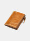 Women Genuine Leather RFID Multifunction Multi-card Slots Retro Money Clip Coin Purse Wallet - Brown