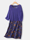 Vintage Floral Print Fake Two Pieces Plus Size Dress with Pocket - Royal