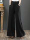 Casual Loose Drawstring Plus Size Wide Leg Pants - Black
